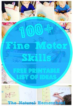 Here is an amazingly awesome post for you! It is full of great ideas and a long list of 100 fine motor skills for toddlers and preschoolers. This list can be used as a progression for children ages up to 5 years. I also have a free printable list so you can print it and use it.