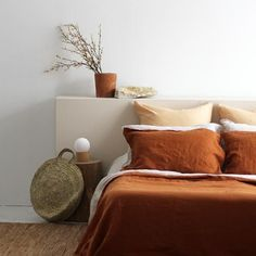 A&C Linen Duvet Cover in French flax bed linen, designed in New Zealand by A&C Homestore in exclusive colour, Terracotta. Bed Sets, Duvet Sets, Orange Bedding, Bedroom Orange, Home Bedroom, Bedroom Decor, Bedroom Ideas, Bedrooms, Bed Linen Design