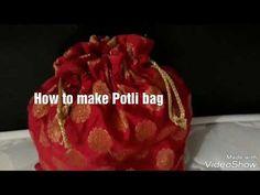 : How to make Potli Bag Crochet Socks Tutorial, Sewing Tutorials, Sewing Projects, Diy Bags Tutorial, Wedding Purse, Wedding Favors, Indian Theme, Sewing Stitches, Knitting Patterns