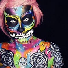 In some of her personal freestyle work, @lola_von_esche is free to express more of her own exclusive style. Her use of bright colors and skull imagery is reminiscent of Ed Hardy's American tattoo art. However, Sarah integrates her own brand of design, adding painterly effects and illusionary makeup effects.  READ MORE: http://blog.furlesscosmetics.com/sarah-von-esche/