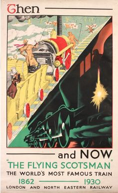 SCOTLAND A. R. Thomson 'Then and Now' LNER vintage railway poster - The Flying Scotsman