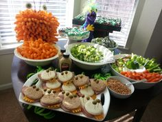 Monster Birthday Party ~ Sugar Bee Crafts  Some freakin' cute ideas here. I LOVE the cheese puff monster!