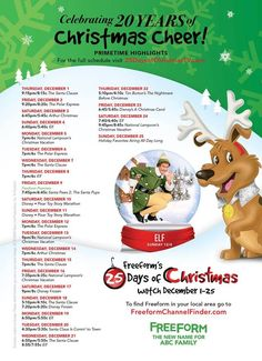 25 Days of Christmas movie schedule for 2016!! Free movies to watch on ABC Family Freeform channel for kids and families. via @thetypicalmom