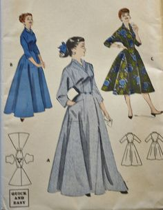 Butterick 7461 Womens Coachman Robe Housecoat Brunch Coat Vintage Sewing Pattern Size 16 Bust 34