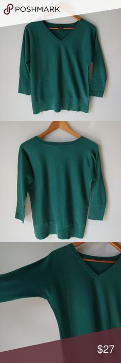Talbots Pima Cotton Sweater Great closet addition in excellent condition! Super soft fabric and beautiful forest green color. Sleeves are 3/4 length. See photos for measurements.  🌻Check out my daughter's closet too! @mrwidmer Talbots Sweaters V-Necks