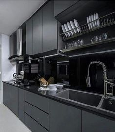 Modern Kitchen Interior Escurridor sobre la tarja - Black Kitchen Cabinets Modern design fads typically point to all white as the cooking area shade combination of option. Moderen design Home Kitchen Room Design, Luxury Kitchen Design, Contemporary Kitchen Design, Kitchen Cabinet Design, Home Decor Kitchen, Interior Design Kitchen, Kitchen Ideas, Kitchen Designs, Kitchen Trends