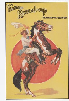 Pendleton Oregon Rodeo Cowgirl Rearing Pinto Horse Large Frameable Postcard | eBay