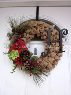 Shabby Chic Burlap Christmas Wreath, Burlap Wreath, Christmas Wreath, Poinsettia Wreath, Rustic Christmas Wreath. $64.95, via Etsy.