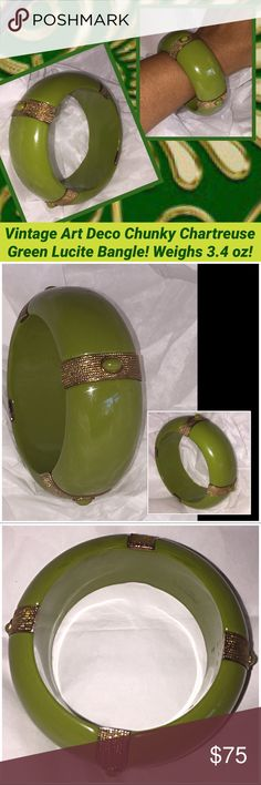 "VTG Art Deco Chunky Green Lucite Bangle Bracelet! Vintage Art Deco Chunky Chartreuse Green Lucite Bangle Bracelet! Lovely vintage lucite bangle in a pretty Chartreuse green color with gold tone filigree metal bands & oval cabochons bead design  Measures 1 1/4"" wide, 1/2"" thick, 2 1/2"" inner diameter & approx. 3 1/2"" wide (end to end). Weighs 3.4 oz. Beautiful, solid vintage piece from 1940's! Excellent condition. Offers welcomed! Vintage Jewelry Bracelets"