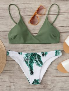 67d5882e328d7 Random Leaf Print Mix and Match Bikini Set