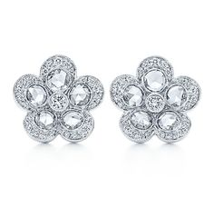 Tiffany & Co. | Item | Tiffany Garden flower earrings in platinum with diamonds, small. | United States