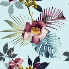 Exotic Flowers by Maite Tiscar Seamless Repeat  Royalty-Free Stock Pattern