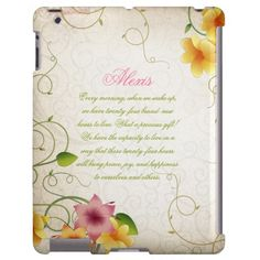 Girly iPad Pink Yellow Floral Green Leaves Swirls