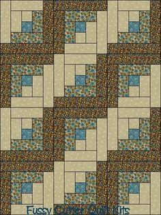 Teal Blue Brown Floral Flower Fabric Easy Pre-Cut Log Cabin Quilt Blocks Top Kit