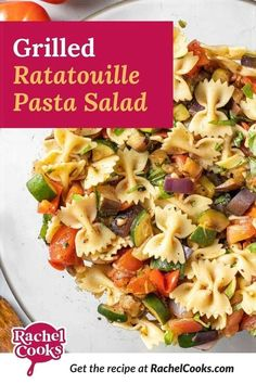 I've got the perfect summer side dish for you! Grilled ratatouille pasta salad is a delightful spin on the traditional French dish. It's so easy to make with ripe tomatoes, eggplant, zucchini squash, sweet red onions, and bell pepper. The veggies are grilled to perfection, dressed with an easy vinaigrette, and combined with al dente pasta for the most delicious pasta salad. Serve this flavorful side dish at your next BBQ or potluck! Pasta Recipes For Lunch, Pasta Salad Recipes, Yummy Pasta Recipes, Cooking Recipes, Healthy Salad Recipes, Eggplant Zucchini, Zucchini Squash, Grilled Tomatoes, Grilled Vegetables