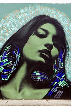 Nuestra Nena de Wynwood by El Mac. Influences of Islamic calligraphy and a kind of hip-hop art nouveau...