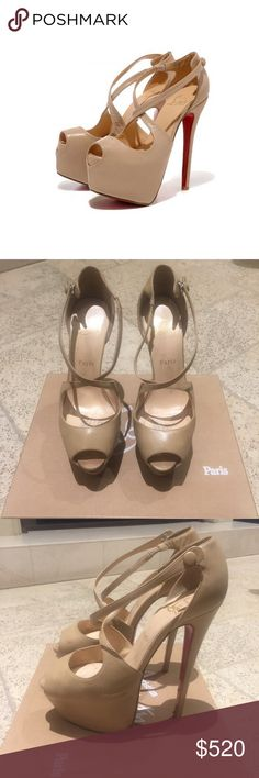 Christian Louboutin Exagona 160 Beige Exagona 160 in good condition. signs of wear/scratches and stains on some parts - please refer to photos for all the details. Size 38 Christian Louboutin Shoes Platforms