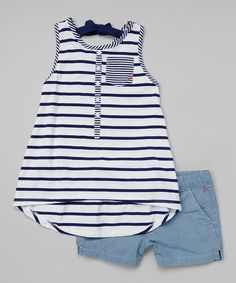So cute for little ones in the summer! Loving this Navy Stripe Trapeze Tank & Chambray Shorts - Toddler & Girls on #zulily! #zulilyfinds