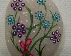 Flowers Rock, hand painted rock, stones, mandala rocks