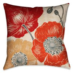 Laural Home Poppies II Decorative 18-inch Throw Pillow