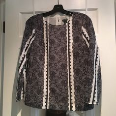 J. Crew Factory Blouse Like new condition! Black and white lace print. J. Crew Tops Blouses