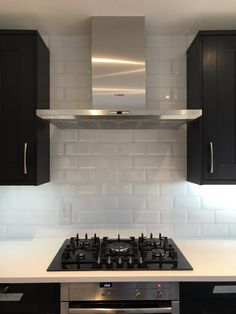 Tiling done. Hob and extractor are in Navy Kitchen, Tiling, Kitchen Cabinets, Home Decor, Decoration Home, Room Decor, Cabinets, Home Interior Design, Dressers
