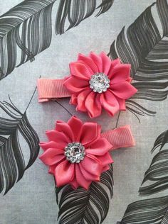 Pink Coral Ribbon Flower Hair Clip Set by SpicyStitchin on Etsy, $5.00