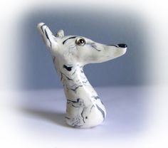 "Greyhound Galgo Whippet Sculpture Clay Figurine ""Reign Cloud"" by GreyhoundCleyhounds on Etsy"
