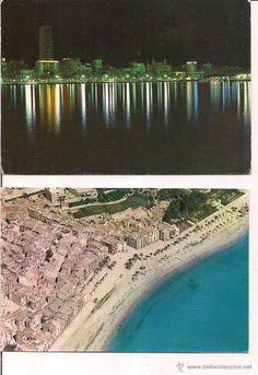 Villajoyosa y Alicante. Vista aerea y vista nocturna. propaganda Discos Pony de Alicante.