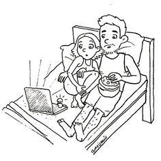 Tú y yo así piénsalo!   @guarisquin  #pelaeldiente  #feliz #comic #caricatura #viñeta #graphicdesign #funny #art #ilustracion #dibujo #humor #sonrisa #creatividad #drawing #diseño #doodle #cartoon #viernes #netflix #pareja