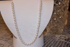 White Pearl Glass Beaded Necklace with by AngeleDesignsLA on Etsy