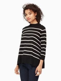 Parisian style. Fall fashion. Fall street style. Parisian chic. Paris street style. Fall fashion 2017 How to be Parisian French women style. stripe swing sweater - Kate Spade New York