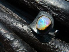ON SALE raw fire opal ring gemstone ring cocktail by BeijoFlor, $77.40