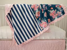 Pink, Coral, Purple, Navy Blue Stripes Floral Baby Crib Cot Blanket with Optional Name Embroidery