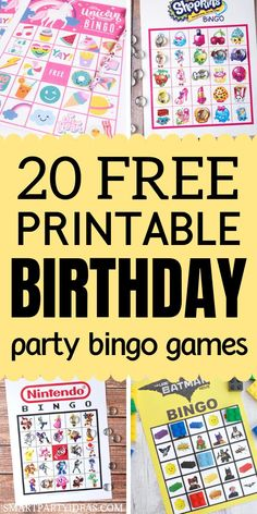 Over 20 Free Printable Bingo games that are a perfect addition to a kids birthday party. These birthday party bingo games are guaranteed to be a hit! Easy Party Games, Bridal Party Games, Birthday Party Games For Kids, Unicorn Birthday Parties, 21st Birthday, Birthday Ideas, Bingo Party, Birthday Blast, Wedding Games