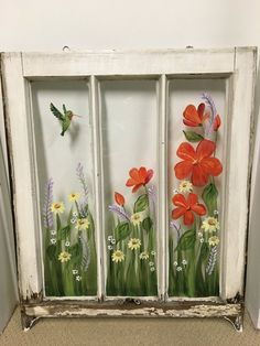 pane ideas exterior Old Windows/Hand Painted Windows/ Red Hibiscus/Hummingbird/Shabby Chic/ Window Decor/ Window Art/Yellow Daisies/Floral Window/Vintage Window Window Pane Art, Old Window Frames, Painted Window Panes, Window Ideas, Old Window Art, Door Ideas, Window Boxes, Painting On Glass Windows, Painted Glass Windows
