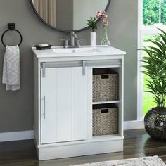 Laurel Foundry Modern Farmhouse Bathroom Vanity In Huron Grey With Vanity Top In White Base Finish: White 30 Bathroom Vanity, Vanity Sink, Bathroom Furniture, Small Bathroom, Bathroom Ideas, Bathroom Makeovers, Furniture Sale, Bathroom Designs, Bathroom Inspiration