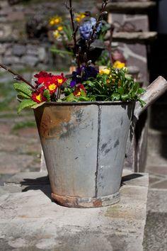 Zinkeimer für Pflanzen, Balkondeko und Gartendeko / bin for plants made by zweitetage via DaWanda.com