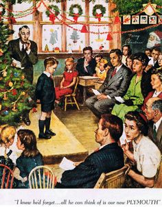 Vintage Illustration of A School's Christmas Program.The boy forgot his lines. Christmas Pageant, Christmas Program, Old Christmas, Old Fashioned Christmas, Retro Christmas, Christmas Scenes, Antique Christmas, Christmas Crafts, Vintage Christmas Images