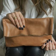 Minimalism at its best – hide the zipper under the flap for a seamless look with maximum security for essentials. All leather handbag by Bauxo available online or in our Whistler village store. Leather Clutch, Leather Purses, Leather Handbags, Vegan Leather, Soft Leather, Caramel Color, Beautiful Handbags, Everyday Bag, Products