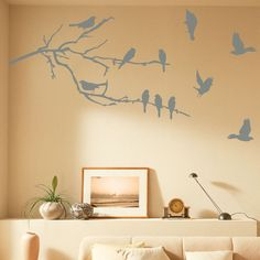 Mirror with Birds and Branches | Branches & Birds Wall Decal - at AllPosters.com.au