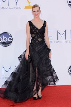 See What Everyone Wore on the 2012 Emmys Red Carpet: January Jones in Zac Posen