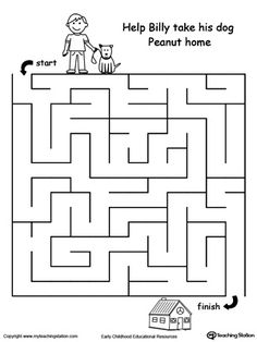 Boost fine motor skills and develop their concept of direction with this printable pet walk maze.
