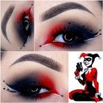 Harley Quinn Augen Make-up. - Halloween Make-up Creative Eye Makeup, Eye Makeup Art, Makeup Inspo, Eyeshadow Makeup, Makeup Inspiration, Jester Makeup, Makeup Ideas, Eye Art, Eyeshadow Palette