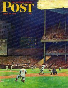 American Games, Newspaper Headlines, Baseball Art, Saturday Evening Post, Field Of Dreams, Yankee Stadium, Baseball Season, April 19, Norman Rockwell