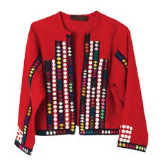 Traditional Peruvian embroidered Alpaca wool jacket, customarily worn by women weavers in the Peruvian highlands, and created by artisans from Peruvian villages at fair trade prices for the Muzungu Sisters label (Tatiana Santo Domingo and Dana Alikhani).