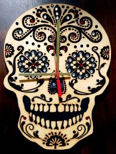 Sugar Skull Wooden Wall Clock