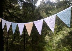 Bunting Flags Pale Grey, Aqua, Yellow, White Fabric Garland Party, Wedding, Nursery, photo prop. $28.00, via Etsy.