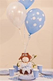 Owl themed Baby Shower Decorations For Boys -  Balloon Diaper Cake Centerpiece with Personalized Table Sprinkles  $42.00 NEW!