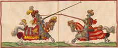 """Renaissance-era depiction of a joust in traditional or """"high"""" armour, based on then-historical late medieval armour (Paulus Hector Mair, de arte athletica, Pericles Westminster, Lance Weapon, Greenwich Palace, Middle Ages History, Tudor Dynasty, Old King, King Henry Viii, Renaissance Era, Medieval Armor"""